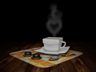 A Cup of coffee with smoke in shape of a heart...