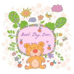 Stylish cartoon card made of cute flowers, doodled  bear, trees,