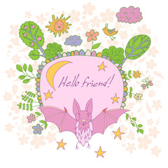 Stylish cartoon card made of cute flowers, doodled bat, trees, b