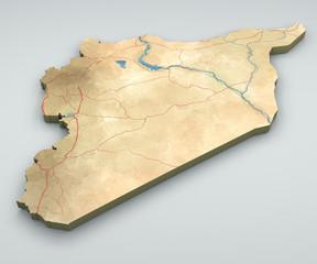 Cartina Siria, cartina fisica, disegnata a mano, illustrata, 3d