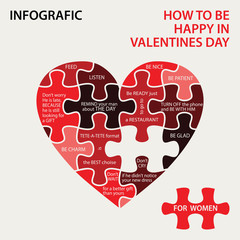 Heart pazzle. How to be happy in Valentines day
