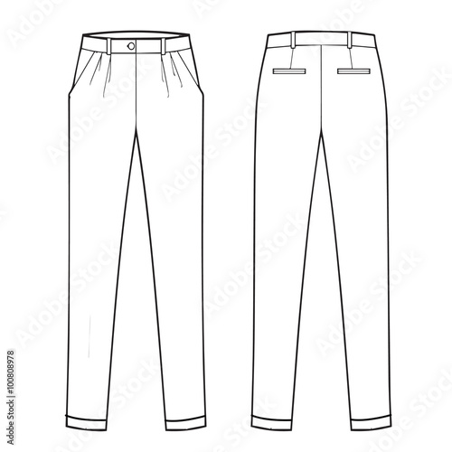 Menswear Classic Trouser Flat Fashion Template Stock Photo And