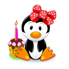 Little penguin.Cartoon penguin with cake. Penguin sitting next to cake.