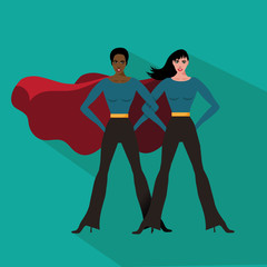Female superheroes flat design