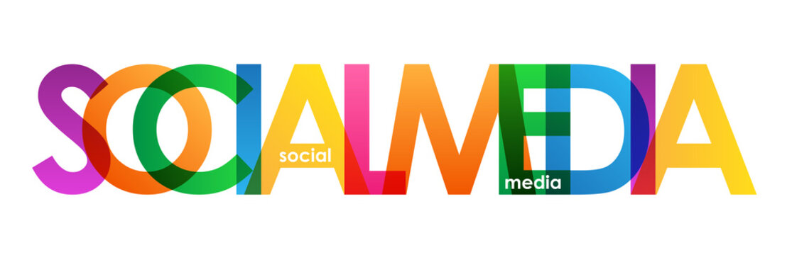 """""""SOCIAL MEDIA"""" colourful vector letters Icon"""