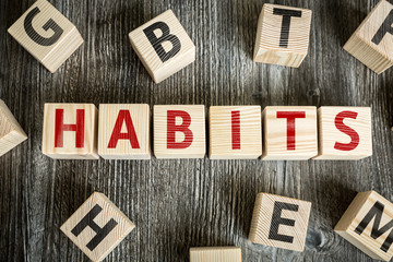 Wooden Blocks with the text: Habits