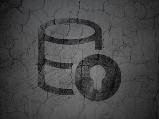 Database concept: Database With Lock on grunge wall background