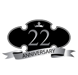22 anniversary with silver ribbon and crown