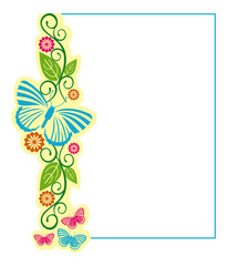 Color vertical frame with butterflies
