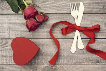 Valentine's decoration on the wood