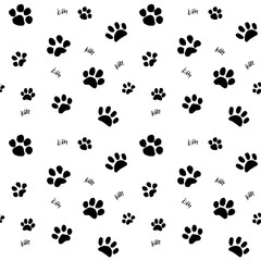 Hand drawn Sketch cats paw and traces seamless pattern, Vector Illustration Elements isolated on white background