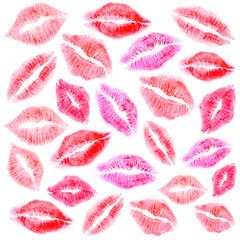 Set of beautiful lipstick mark.