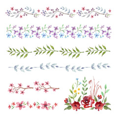 Vector Floral Border. Set of vintage watercolor flowers  for wedding invitations and birthday cards