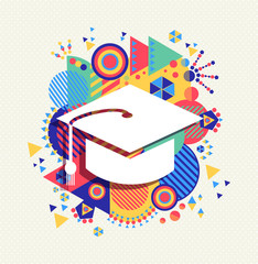 College graduation icon school concept color shape