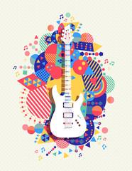 Electric guitar icon concept music color shape