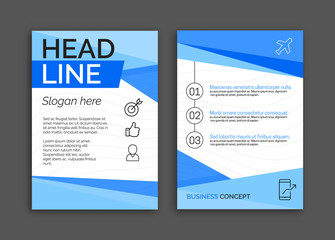 Abstract Blue Color Business brochure flyer design layout template in A4 size v1