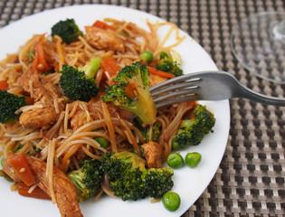 Healthy food of Thailand - chicken Pad Thai: spicy, juicy, hot