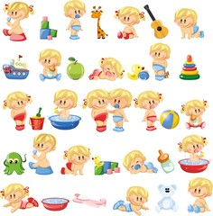 Vector illustration of baby boys and baby girls, kids toys and accessories