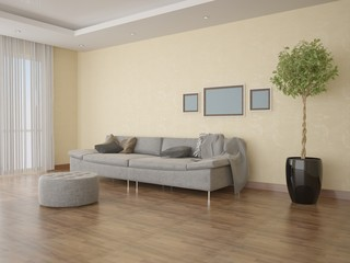 Modern sofa in the spacious bright living room .