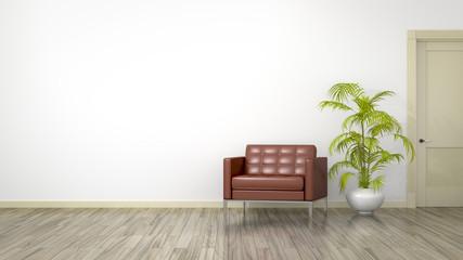 room with an armchair