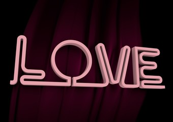 San Valentine card. Neon shine LOVE word in 3D effect