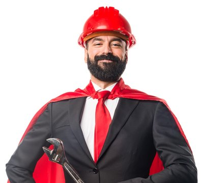 Worker super hero businessman