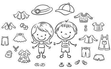 Wall Mural - Summer clothes set for a boy and a girl, black and white outline