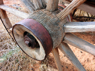 Old west style wooden wagon wheel