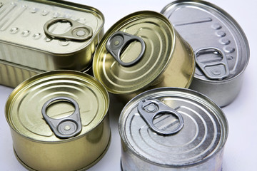 Closeup of a group of aluminium cans