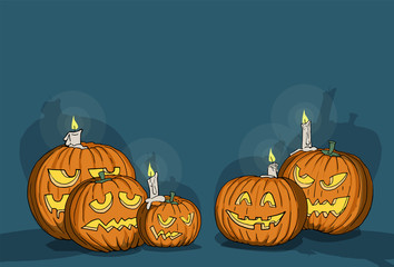 Happy Halloween, various carved pumpkins at night, with space for your message