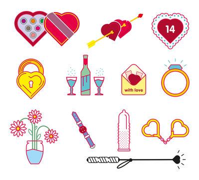 Valentine's Day vector icons set