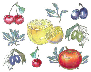 Set of fruits.
