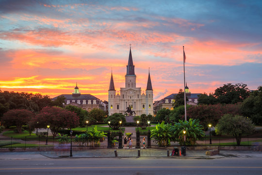 Saint Louis Cathedral and Jackson Square in New Orleans