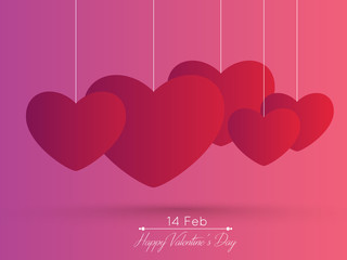 Red paper heart Valentines day card with sign on ornate background