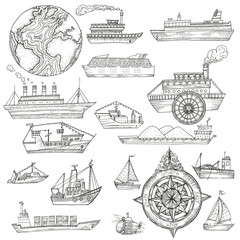 Sea pattern with ships.