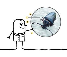 cartoon man entomologist showing a beetle