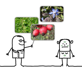 cartoon man naturopath prescribing plants to a woman