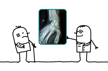 cartoon man injured his hand and doctor showing an x-ray