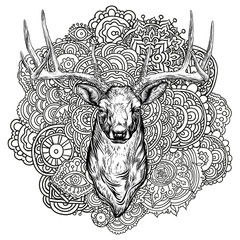 Horned deer with ornament.