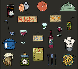 Colored icons kitchen utensils.