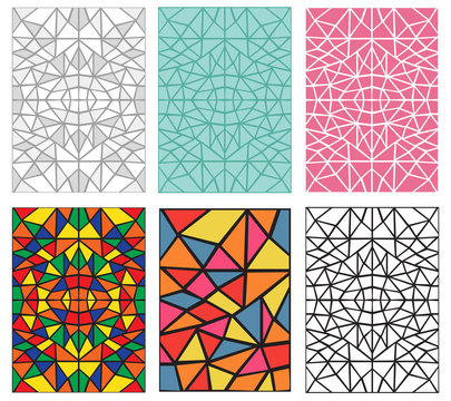 Set of Seamless pattern in traditional mosiac style