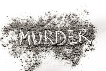 Word Murder written in ash