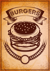 grunge retro poster with burger for fast food