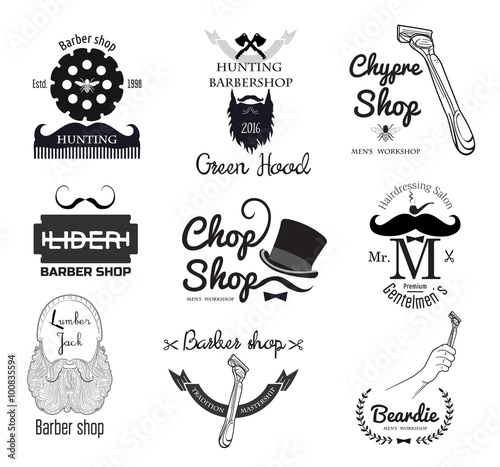 Barber shop logo badge design. Men's haircut logo. Straight razor logo. Blade razor