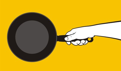 Hand holding frying pan