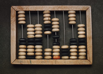 Vintage wooden abacus on dark background, top view