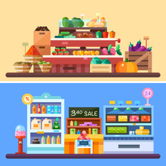 Supermarket store indoor with goods: vegetables pumpkin, spices, tomatoes, eggplant, candies, drinks, pepper, dairy products cheese. Sale badges, store shelves, crates. Flat vector illustrations.