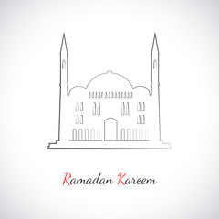 Single flat icon of Mosque isolated on white background
