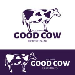 Vector logo of milk production or milk shop. Cow brand logo.