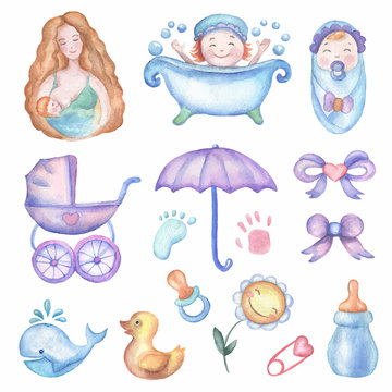 Watercolor baby shower vector set of design elements.
